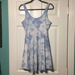 PINK blue and white tie dye cotton dress
